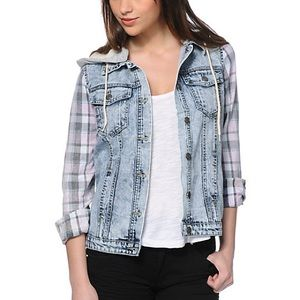 Jean Jacket with plaid sleeves